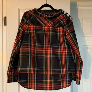 J. Crew funnel neck plaid shirt